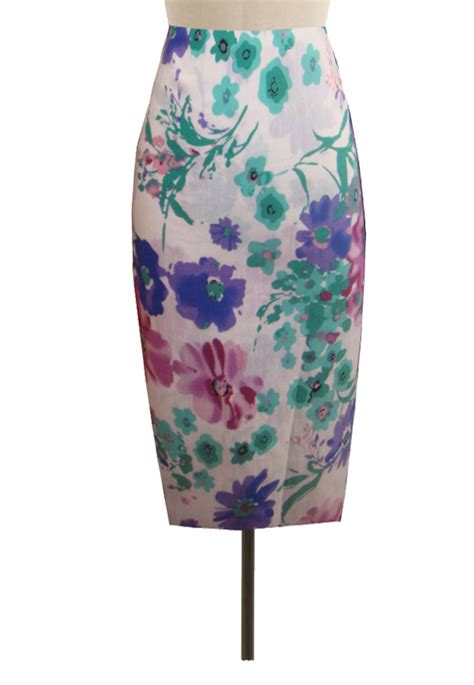 multi colors floral pencil skirt custom handmade fully