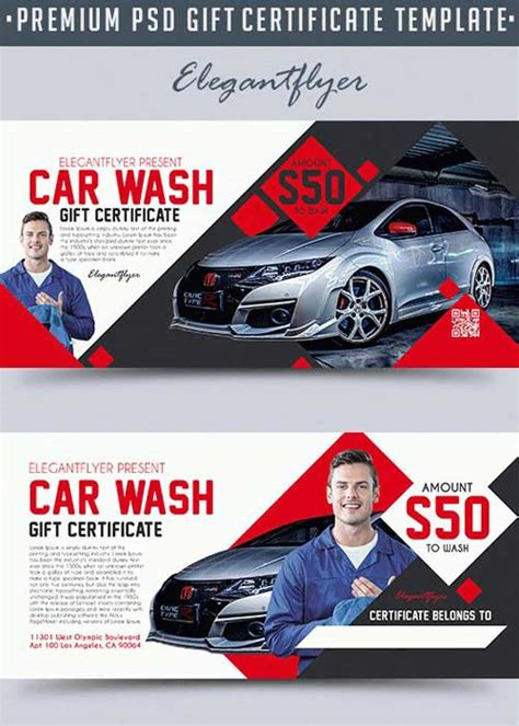car wash gift card template car wash v1 2018 premium gift certificate psd template