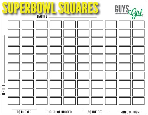 Office Football Pool Forms Football Squares Free For Your Bowl