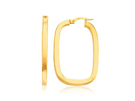 rectangular hoop earrings with flat sides in 14k yellow