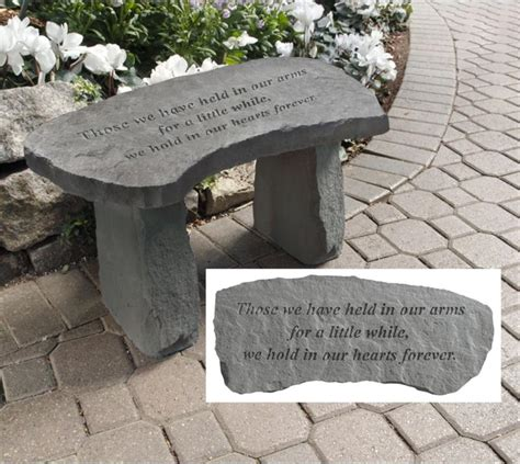 stone memorial bench those we have held in our arms memorial bench