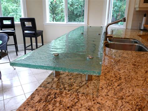 sle of raised glass countertop with standoffs cbd glass
