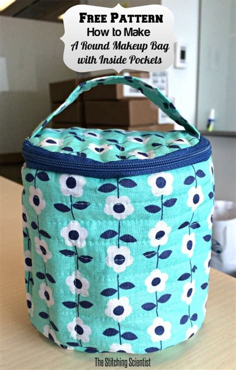 how to make a round quilted makeup bag with inside pockets