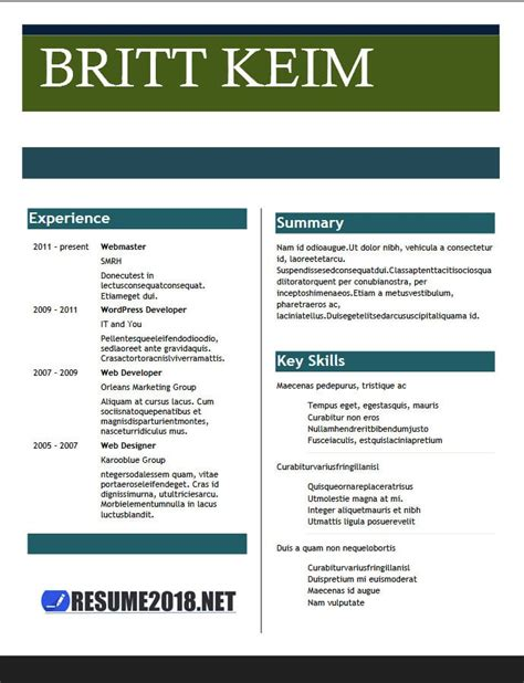 Latest Resume Templates 2018 100 Resume Exles In Word Free Resume Templates 2018