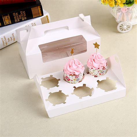 Box Kue Sovenir Cake Box Cake Cupcake Muffin Pudding 100 x 6 cavity white cupcake packaging box with corner window portable handle muffin