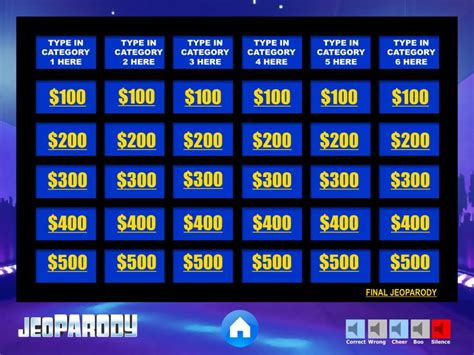 Jeopardy Powerpoint Game Template Youth Downloadsyouth 6 Category Jeopardy Template