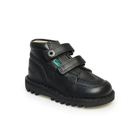 Kickers Shoes 5 kickers infants kick hi black leather boots shoes size 6 8 5 ebay