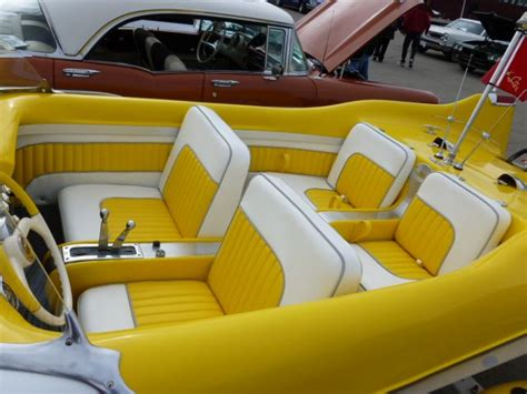 yellow boat seats for sale how about that for a cool vintage boat interior it