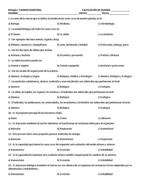 Biología 1_Examen Semestral | Glucólisis | Ciencias de la