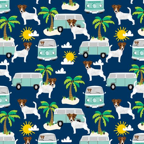 Doggie From Tree Hippyshopper by Terrier Fabric Hippie Palm Trees