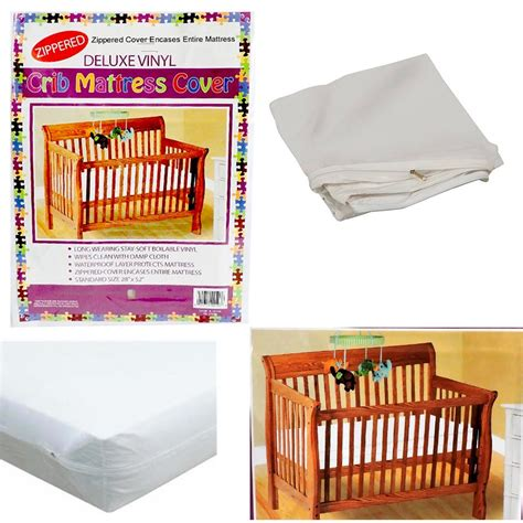 Crib Mattress Cover Crib Size Zippered Mattress Cover Vinyl Toddler Bed Allergy Dust Bug Protector Ebay