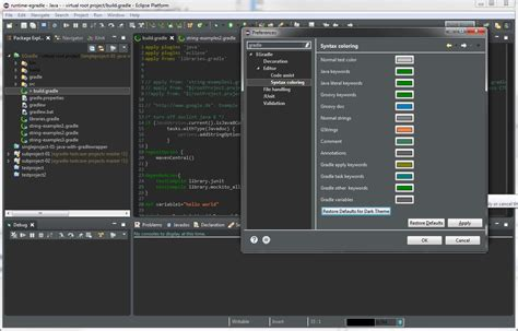 dark theme eclipse mac egradle editor eclipse plugins bundles and products