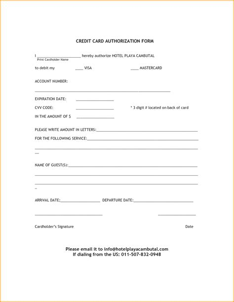 credit card sheet template authorization form template exle mughals