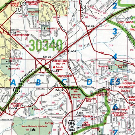 map of atlanta with exits interstate guide interstate 285