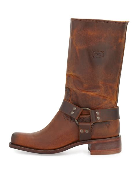 frye cavalry boots frye cavalry harness detailed mid calf boot in brown lyst