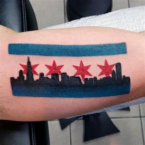 chicago state tattoo 50 chicago flag designs for illinois ink ideas