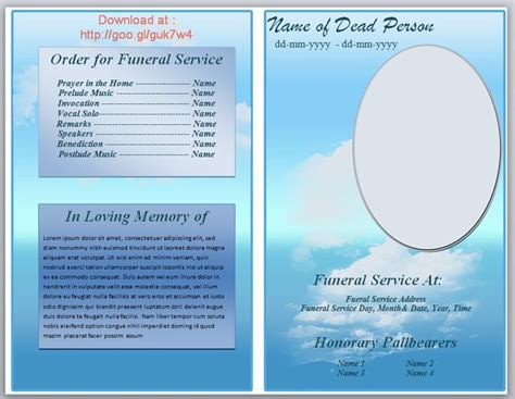 memorial phlets free templates 73 best printable funeral program templates images on