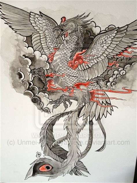dragon phoenix tattoo designs design by unmei wo hayamete on deviantart