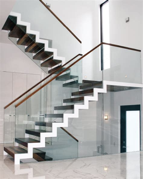 Zig Zag Stair mrail modern stairs two side stringer stairs