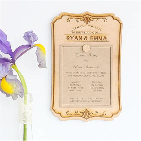 wedding invitations magnet wood wedding invitations that can be re used vintage sign