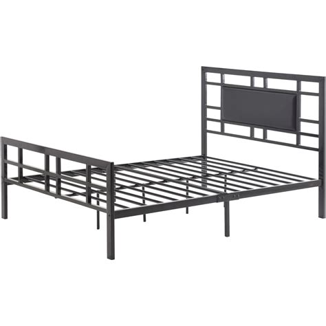 upholstered headboard bed frame verysmartshoppers size black metal platform bed