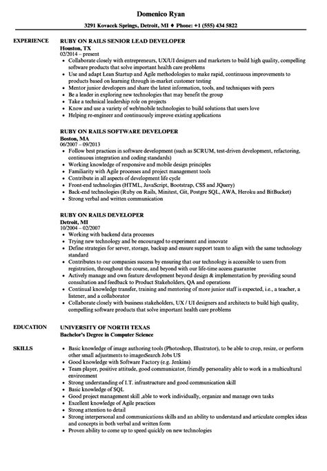 ruby rails developer resume sles velvet