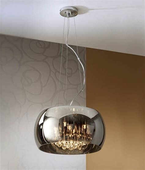 smokey glass pendant light mirrored glass shade crystal droplet pendant