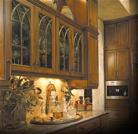 gothic kitchen cabinets ovation cabinetry gothic style rustic cherry applied molding cabinet doors with glass walzcraft