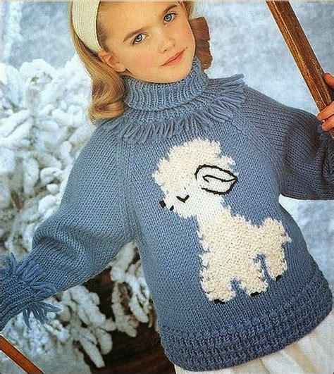 sueter tejidos con agujas para ninas patr 243 n de su 233 ter de ni 241 a tricot con oveja blanca crochet