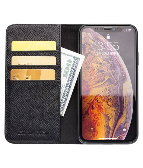 detachable magnetic leather kickstand wallet for iphone xs max qialino