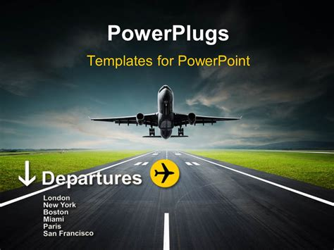 Powerpoint Template An Airplane Taking Off From The Runway 9254 Airplane Powerpoint Template