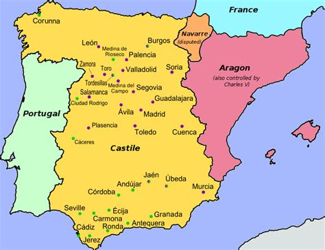 map of spain with cities map of spain with cities colored by affiliation revolt of