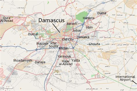 damascus on a map suburbs of damascus