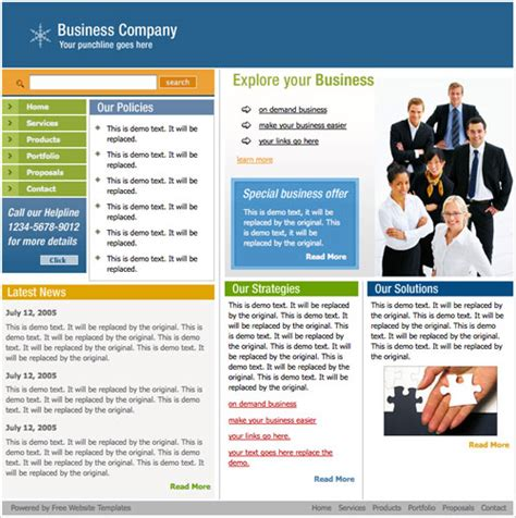 10 free html website templates for business business web template free website templates