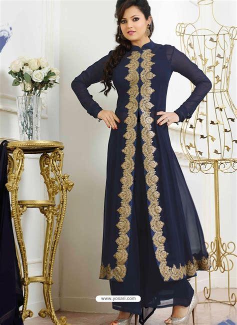 Navy Blue Georgette Pakistani Suits   Pakistani Suits online
