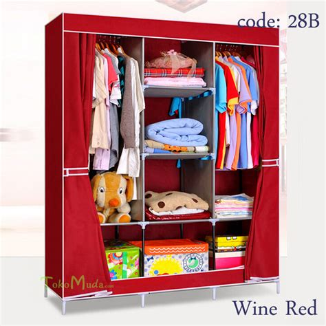 Promo Farmhouse Lemari Pakaian Multifunction Wardrobe With Cover buy multifunction wardrobe rack deals for only rp690 000