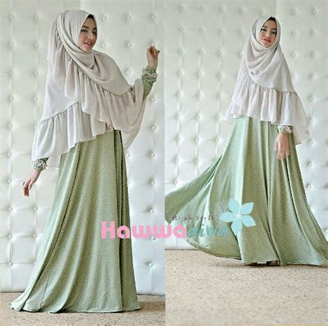 Baju Muslim Wanita Polkadot Afia Hijau Khaki Baju Muslim Gamis Modern