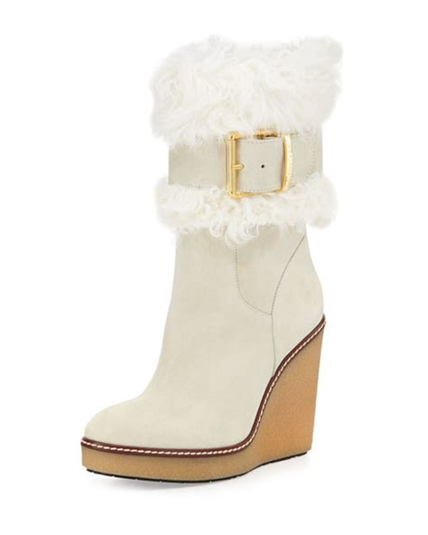 moncler marguerite fur cuff wedge boot white