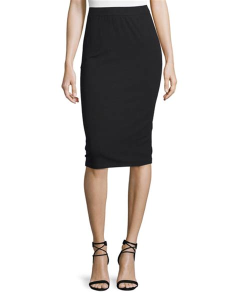 eileen fisher calf length pencil skirt black