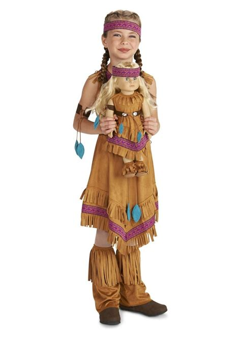 Native American Princess Girls Costume And Matching Doll American Princess