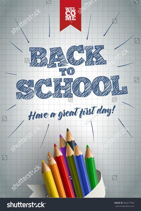welcome back school poster design template stock vector