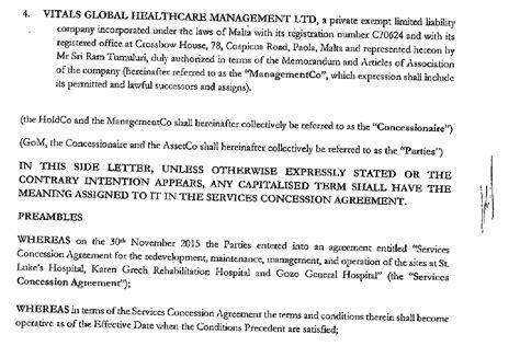 Side Letter Agreement Meaning konrad mizzi ram tumuluri quot side letter quot agreement obtained