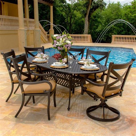 Modern Patio Dining Set Avondale 6 Person Cast Aluminum Patio Dining Set Modern Outdoor Dining Sets