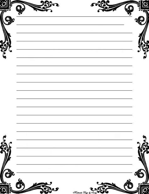 printable writing paper with margin free printable stationery templates deco corner lined