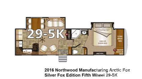 arctic fox 5th wheel floor plans 2016 northwood arctic fox 29 5k for sale in longmont co lazydays