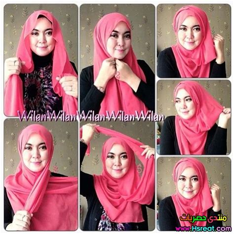 tutorial hijab orang arab طرق لف الطرح 2015 و 2016 بالصور وخطوة بخطوة باللون البينك