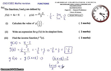 relations and functions cxc csec maths maths past paper question 2011 2012 6a 9a
