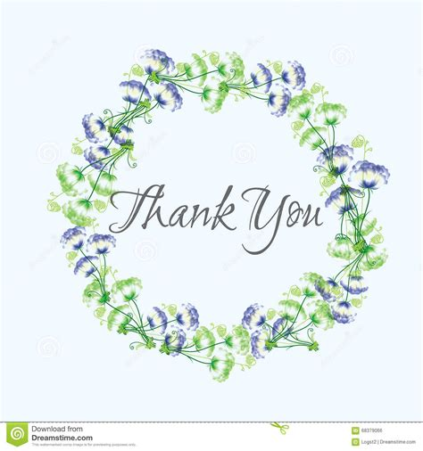 thank you card illustrator template wreath thank you vector greeting card template stock