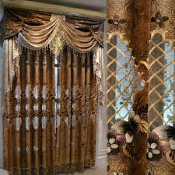 brown and white drapes curtains