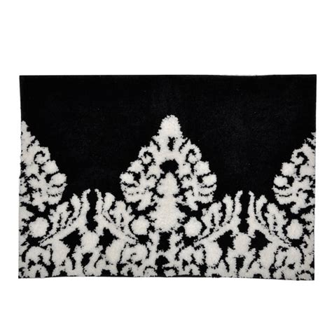 black white bath rug black white damask bath mat free shipping on orders 45 overstock 16095227